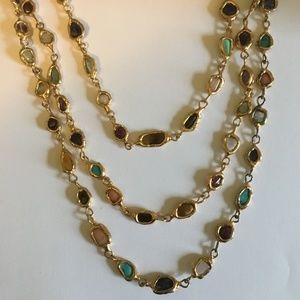 Jewelry - Vintage Long Golden Necklace with Colorful Stones